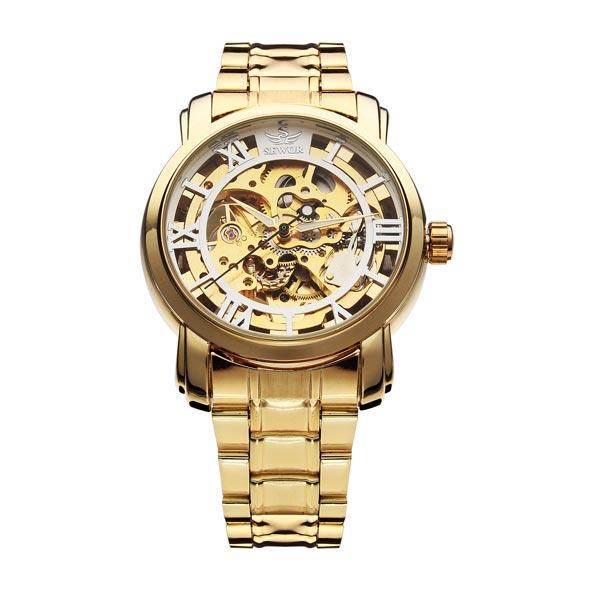 Sewor Gold Black Mechanical Roman Stainless Steel Men Wrist Watch Watch