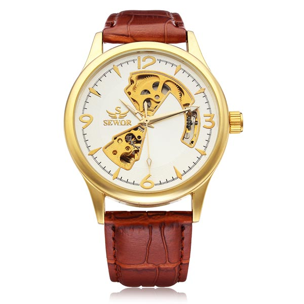 Sewor Gold Dial Brown PU Leather Mechanical Men Wrist Watch Watch