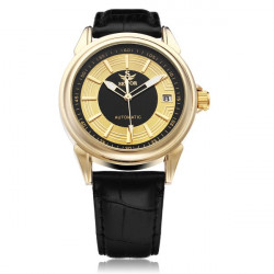 Sewor PU Leather Black Mechanical Calendar Gold Men Wrist Watch