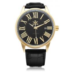 Sewor PU Läder Svart Mekanisk Romerska Siffror Guld Herr Armbandsur Klocka