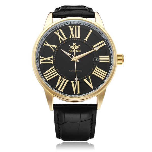 Sewor PU Leder Schwarz Mechanische Romen Gold Mann Armbanduhr Uhren