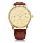 Sewor PU Leder Brown Mechanische Romen Gold Mann Armbanduhr Uhren