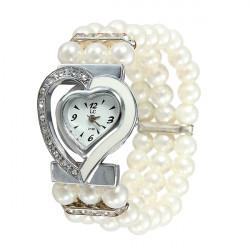 Shiny Heart White Dial Beads Band Bracelet Women Girl Watch