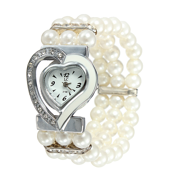 Shiny Heart White Dial Beads Band Bracelet Women Girl Watch Watch