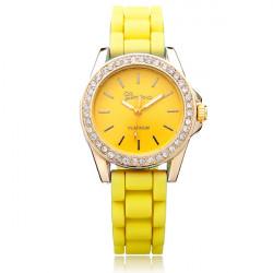 Silicone Crystal Rhinestone Jelly Round Women Wrist Watch
