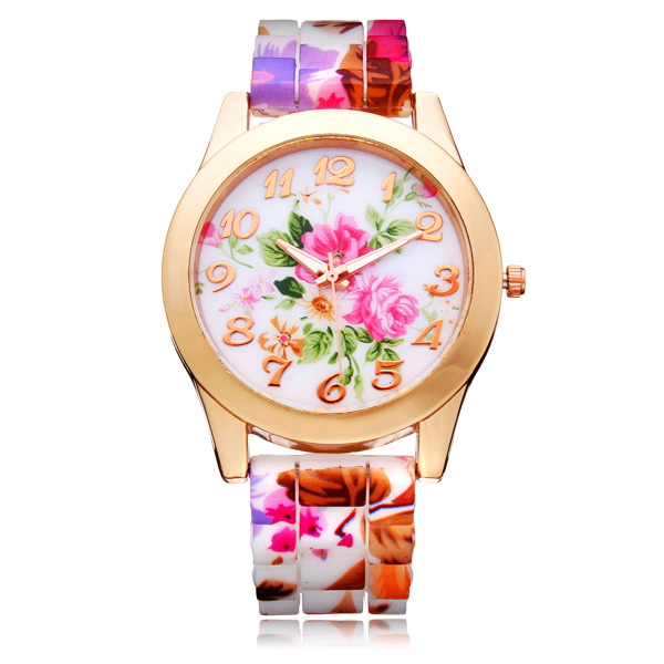 Silikon Blumen Schmetterling Runde Gold Damen Quarz Armbanduhr Uhren