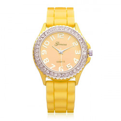 Silikon Anzahl Kristall Damen Runde Quarz Armbanduhr