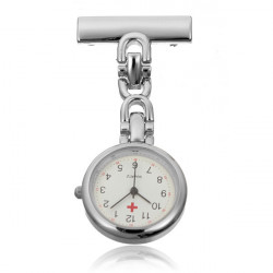 Silver Stainless Steel Nurse Doctor Brooch Quartz Pocket Watch