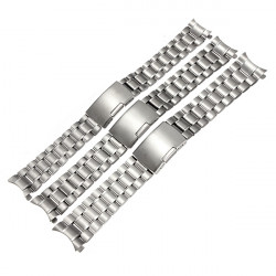 Silver Stainless Steel Watch Band Strap Curved End Solid Links