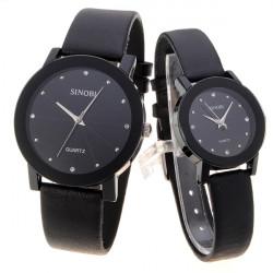 Simple Calibration Analog Round Couple Wrist Watch