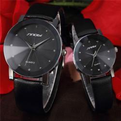 Sinobi Man Women Rhinestone PU Leather Band Lovers Couple Watch