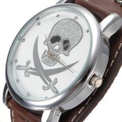 Skeleton Leder Niet Armbanduhr