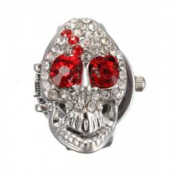 Skelett Skull Rhinestone Crystal Fingerklocka