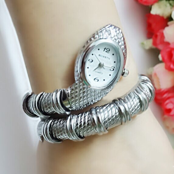 Schlange Form Siliver Goldfarben Edelstahl Armband Armbanduhr Uhren