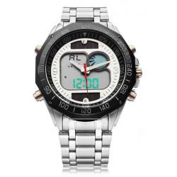 Solar Powered Dual Display LED Stainless Steel Men Quartz Watch