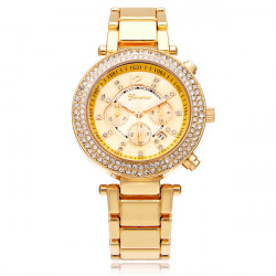 Stainless Steel 3 Dial Crystal Date Women Quartz Wrist Watch