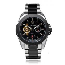 TEVISE 24h Anzeige Schwungrad mechanische Edelstahl Mann Uhr