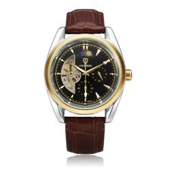 TEVISE Schwungrad 24h Anzeige Mechanische schwarz PU Leder Mann Uhr