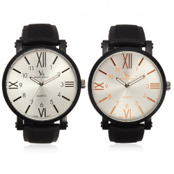 V6 Men Fashion Sports Round Quartz Silicone Simple Style Watch