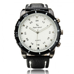 V6 Super Speed große Zifferblatt PU Band Quarz Uhr
