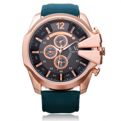 V6 V0201 Super Speed Big 3 Dial PU Leather Number Sport Men Watch