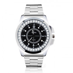 Valen Silver Stainless Steel Crystal Couple Men Women Watch