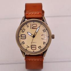 Weinlese große Anzahl Lederband Quarz Uhr
