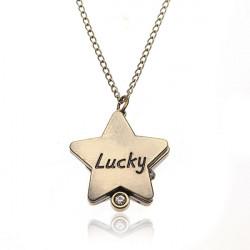 Weinlese Bronze Lucky Star Analog Ketten Halskette Taschenuhr