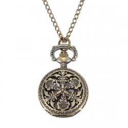 Weinlese Kupfer Bronze gravierte Quarz Taschen Uhr hängende Halskette