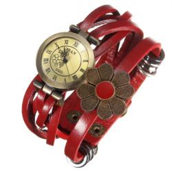 Vintage Flower Wrap Leather Braided Quartz Bracelet Wrist Watch