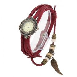 Weinlese Leder Blatt Rhinestone Frauen Armband Uhr