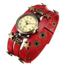 Weinlese Punk Runde Schädel Sterne Leder Quarz Armband Armbanduhr