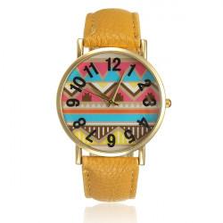 Vintage Round Wave Pattern Golden Women PU Leather Wrist Watch
