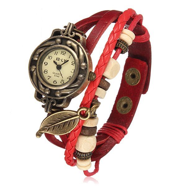 Weinlese Weave Blatt Leder Frauen Armband Armband Quarz Armbanduhr Uhren