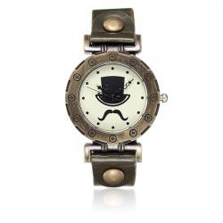 Weinlese Frauen Bronze Schnurrbart Bart Hut Leder Quarz Armbanduhr