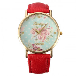 Vintage Women Flower Dial PU Leather Strap Analogue Quartz Wrist Watch