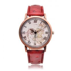 Vintage Verdenskort PU Læderrem Quart Watch