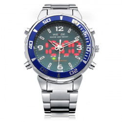 WEIDE WH843 Silver Stainless Steel Military Calendar Men Wrist Watch