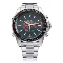 WEIDE WH903 LED Silver Stainless Steel Military Date Men Wrist Watch