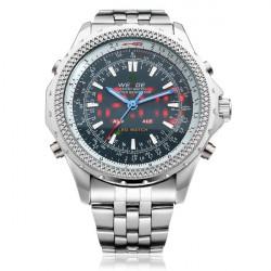 WEIDE WH904 LED Silber Edelstahl Alarm Militär Mann Armbanduhr