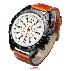 WEITE Military Army Style Coffee Leather Band Quartz Analog Watch