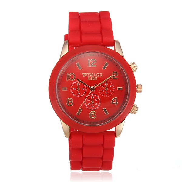 WOMAGE Women Silicone Quartz Fashion Wrist Watch Watch