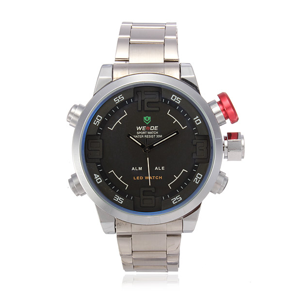 Weide WH2309 Männer wasserdichte LED Edelstahl Armbanduhr Uhren