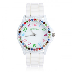 Weiß Rubber Kristall Anzahl Frauen Quarz Armbanduhr