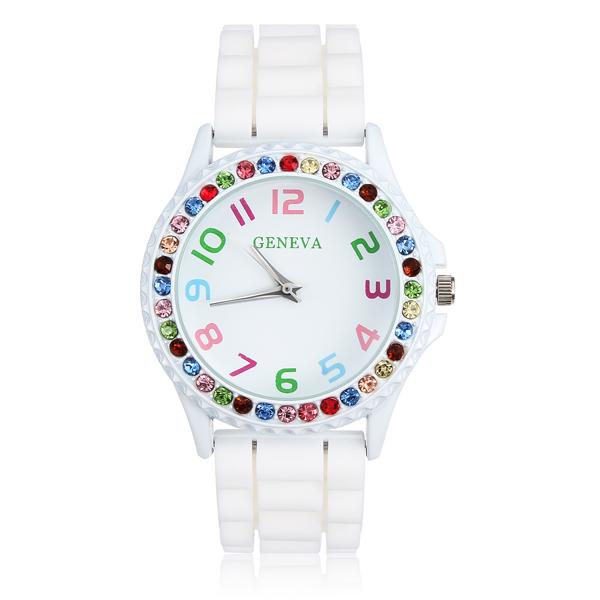 White Rubber Crystal Number Women Quartz Wrist Watch Watch