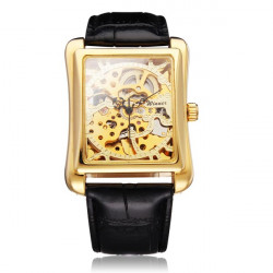 Winner Luxury Leather Golden Square Mechanical Men Watch