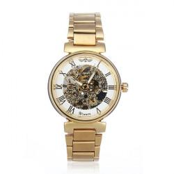 Vinder Mænd Golden Skeleton Mekanisk Luksus Mænd Armbåndsur