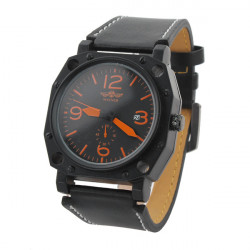 Winner Men Leather Big Dial Mechanical Water Resistance Fashion Watch