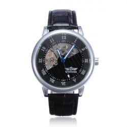 Winner Men Leder mechanische Arabisch römischen Ziffern Uhr