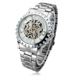 Winner Men Skeleton Big Number Stainless Steel Mechanical Watch